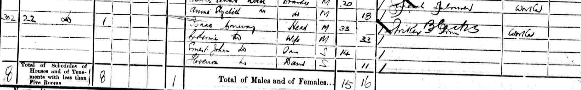 1901 Census showing Ernest John's family
