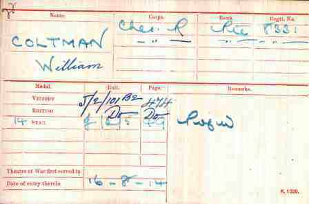 Bandsman Coltman's Medal Index Card