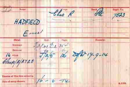 Pt Hadfield's Medal Index Card