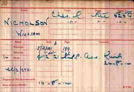 Pt. Nicholson's Medal Index Card
